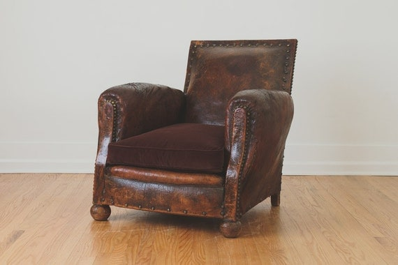 Antique french distressed leather club chair by homesteadseattle