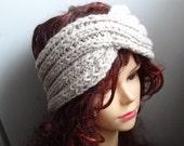 Turban headband  BEIGE winter turban ear warmer knit accessories, twisted headband Chunky Knit Turban Headband , Ear warmer Turban Design