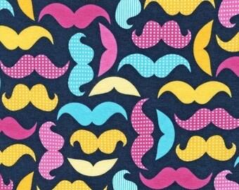 KNIT - Mustaches on Navy from Robert Kaufman