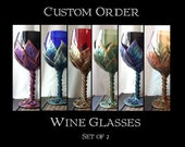 Custom Order Wine Glasses with Vines and Leaves