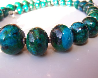 Chrysocolla (imitation) Necklace with Earrrings graduated beads set