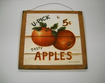 U-pick Tasty Apples Wooden Kitchen Wall Art Sign Fruit Decor