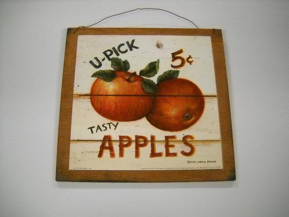 Items Similar To U Pick Tasty Apples Wooden Kitchen Wall