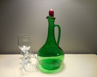 Vintage Green Glass Wine Decanter by Wine World