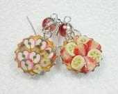 Fruit tart / flan Earrings. Polymer Clay