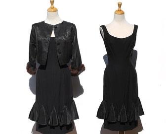 Vintage Black Crepe Wiggle Dress with Silk Satin Bolero