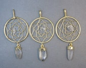 Dream Catcher Pendant with Crystal quartz Nugget and Dangling Point gold plated (S25B7-01)
