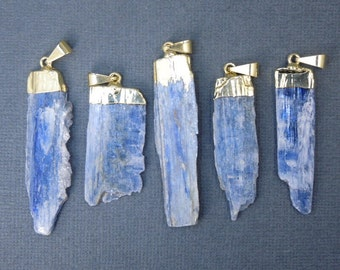 Raw Blue Kyanite Pendant Charm with Gold Electroplated Cap (KYN-01)