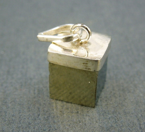 Pyrite Pendant Gold Pyrite Cube Pendant with Silver Layered