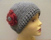 Gray Women Beanie Hat With Red Flower, Crocheted Winter Women Hat, Usa Seller