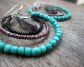 Beaded Hoops with Dangling Titanium Colored Quartz, Black, Purple, and Turquoise Beads, Gypsy Hoops, Boho Jewelry, Girl