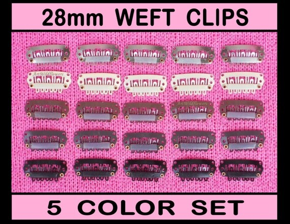 50 Snap Clips -  28mm - in 5 colors -  Weft Clip - Comb Clips, Wig Clips, Toupee Clips, Extension Clips, Hair Clips