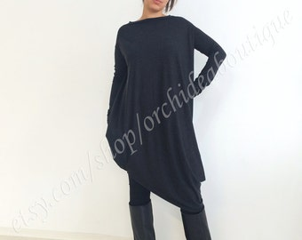 oversized OLYA FALL Black asymmetric  Women's Clothing  women tunic  plus size tunic  plus size women  Oversize Tunic Asymmetric Tunic