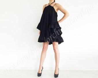 ruffle CHACHA black tunic dress oversized off-shoulder multiway