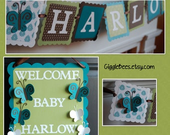 Butterfly Party Package, Butterfly Baby Shower, Butterfly Birthday Decorations, Name Banner, Door Sign,