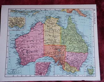 1950s Australia map, map of Australia, Tasmania, Sydney, Melbourne, Adelaide, Perth