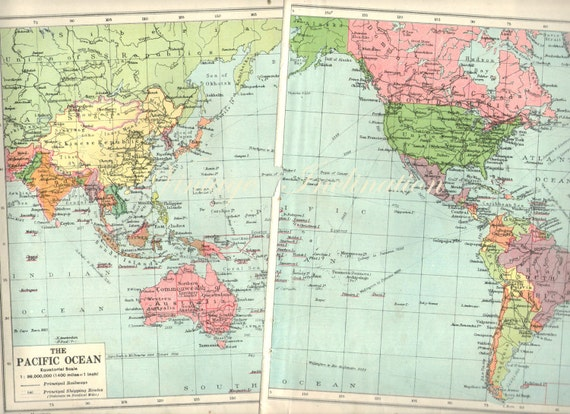 1940s Antique WORLD Map of the World blue green 1900s atlas
