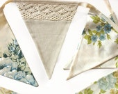 Vintage Blue & Ivory Beige Lace Floral Flag Bunting. Garden Tea Party Decoration. Party Banner, Market Stall, Pennant, etc. Upcycled