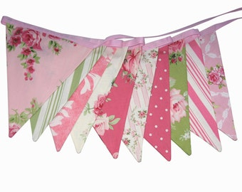 Barefoot Roses Pink & Green Flag Bunting.  HANDMADE . Wall hanging, Birthday Party Banner, Market Stall Decoration