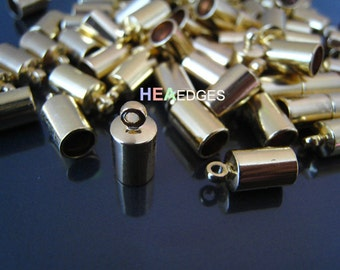 10pcs Gold End Caps 5mm - Findings Gold Plated Leather Cord Ends Cap with Loop 12mm x 6mm