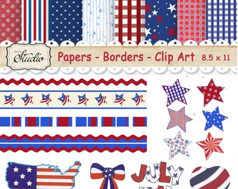 Patriotic July 4th Digital Paper, Independence day, USA Scrapbook clip art, Craft supplies, Instant Download, red& blue, digital collage