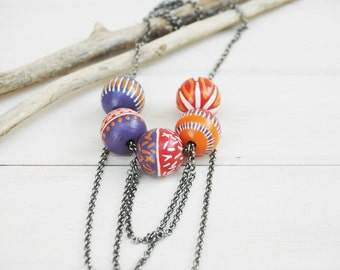 Colorful beaded necklace,wood necklace ,boho necklace,made to ordr