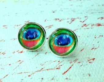 20 % OFF- Peacock Eye feather Green Coral Red Multi color Stud Earrings, Fancy Eaarings,Gift For Her