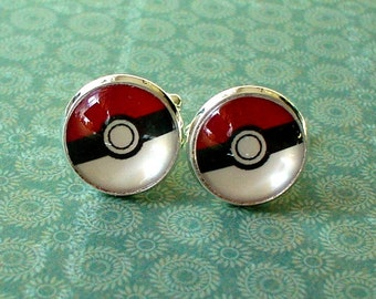 20% OFF -- 16 mm Poke Ball Game Cartoon Cuff Links ,Mens Accessories, Perfect Gift Idea