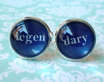 20% OFF -- 16 mm Navy Blue and white Legendary wedding Cuff Links ,Barney Stinson quote ,Mens Accessories, Perfect Gift Idea (blue)
