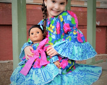 Chloe's Doll Size Party Peasant Dress PDF Pattern for 15- and 18-inch Dolls
