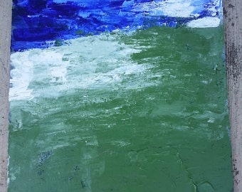 "SALE OOAK ""The Vast Land"" acrylic abstract painting blue white green"