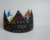 Reversible and Adjustable Birthday Crown - Elephants / Alphabet Birthdays, Showers, Photo-Prop, Dress-Up, Fabric, Ready-to-Ship
