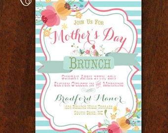 Mother's Day Brunch Mothers Day Invitation Luncheon Birthday Party Invitation 5x7 Printable Spring
