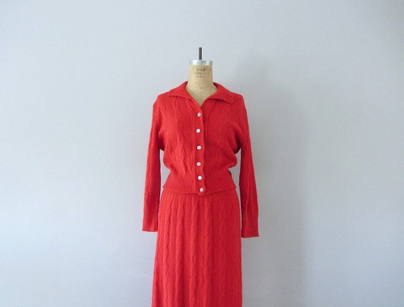 RESERVED ... 50s sweater dress . 1950s red cable knit sweater set