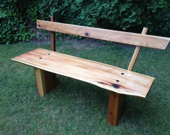 Salvaged Cedar Bench with Back