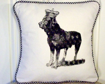 """shabby chic, feed sack, french country, vintage Rottweiler with gingham  welting 14"""" x 14"""" pillow sham."""