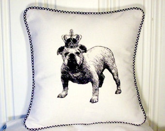 """shabby chic, feed sack, french country, vintage bulldog graphic with gingham  welting 14"""" x 14"""" pillow sham."""