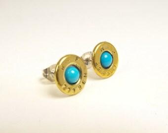 Bullet earrings brass and Turquoise post earrings