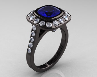 Legacy 14K Black Gold 2.0 Ct Cushion Blue Sapphire Diamond Engagement Ring R60E-14KBGDBS