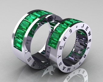 Art Masters Modern 14K White Gold Emerald Channel Cluster Wedding Band Set R174RS-14WGEM