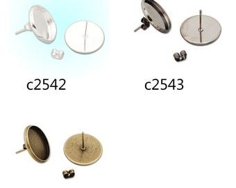 50pcs earring studs, fit 16mm round cabochons, earring bezels