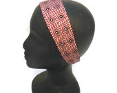 Silk Headband Recycled Necktie Red Black White Reversible