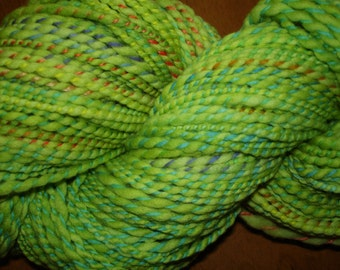 Hand Spun, Hand Dyed Domestic Wool Yarn, 2 ply Bulky weight in Light Spring Green, 200 yards