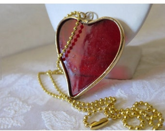 Heart ,Pendant , Red Glass Silvered with Gold Patina, Valentine Red Heart, Valentine Necklace, Valentine Heart