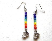 Rainbow Chakra Om Earrings - Ohm Aum Zen Yoga
