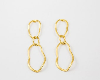 Gold Hoop Earrings ,24 K Gold Plated Earrings ,Glamour Gold Earrings