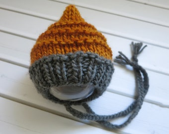 Newborn Burnt Orange and Grey Merino Wool Knit Bonnet - Ready to Ship Newborn Photography Prop