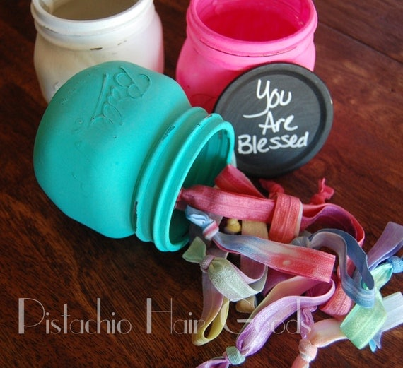 Handmade Back to School Supplies - 25 Tie Dye Hair Ties in a Chalk Painted Ball Mason Jar from Pistachio Hair