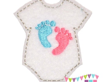 Onesie with Baby Feet on White Felt Embroidered Embellishment Clippie Cover SET of 4