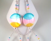 Mother of pearl Earrings Blue, yellow, white, pink Earrings. E047